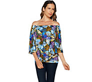 Laurie Felt Printed or Solid Knit Top with Overlay - A292619