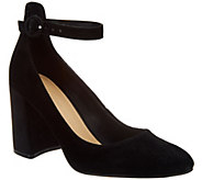 Marc Fisher Suede Pumps with Ankle Strap - Issa - A295019