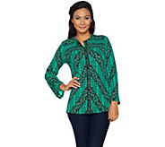 Bob Mackies Printed Lace Stripe Jersey Button Front Blouse - A296419