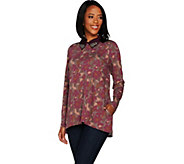 LOGO Lounge by Lori Goldstein Printed French Terry Top with Beaded Collar - A296519