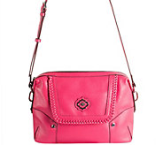 As Is orYANY Pebble Leather Crossbody w/ Whipstitch Detail - Lacy - A298719