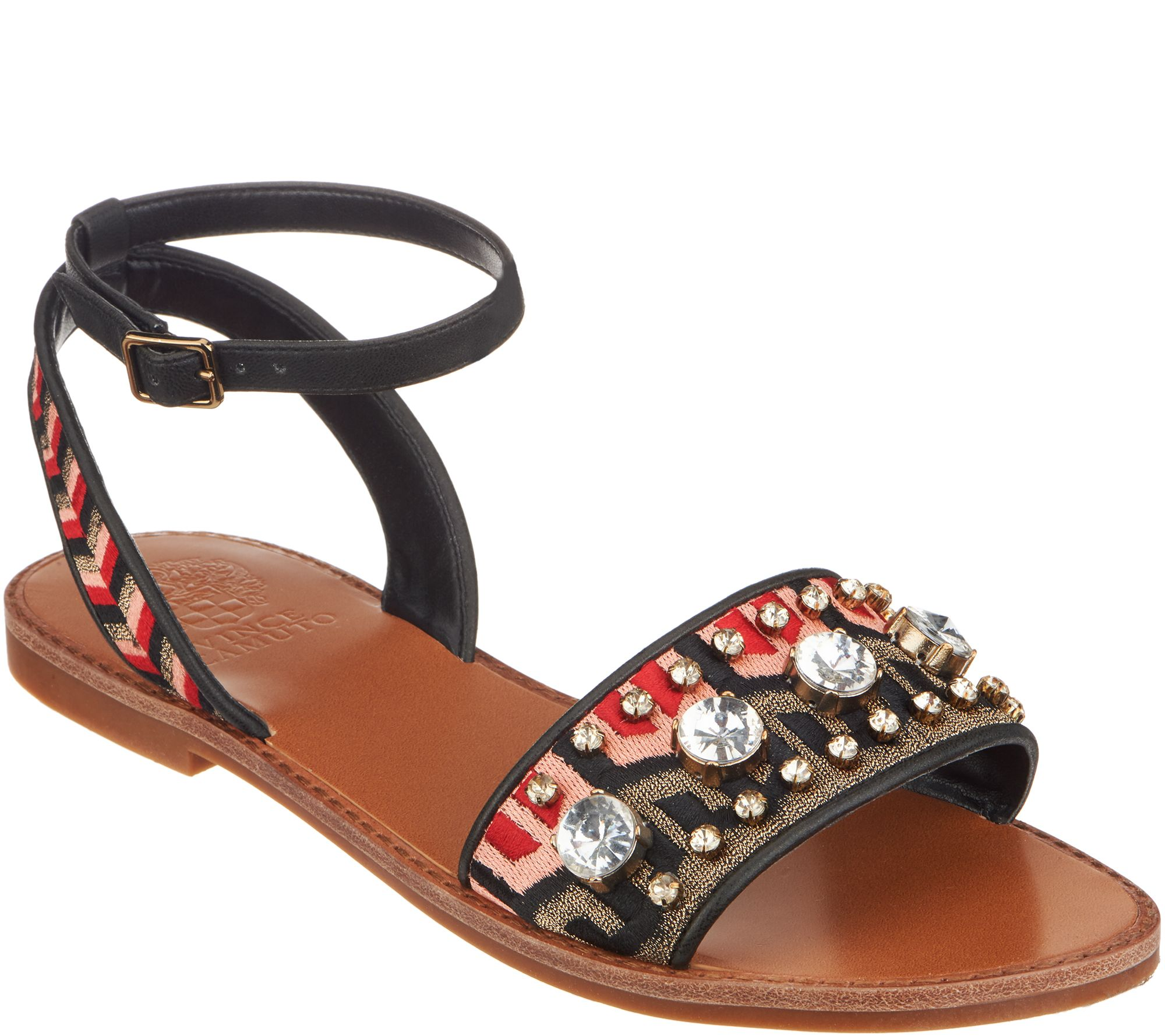 b88042f19f47a6 Vince Camuto Embroidered Sandals w  Ankle Strap - Akitta - Page 1 — QVC.com