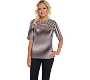 Denim & Co. Round Neck w/ Keyhole Elbow Sleeve Striped Top - A307119