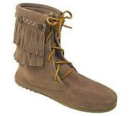 Minnetonka Womens Double Fringe Tramper Boots - A320319