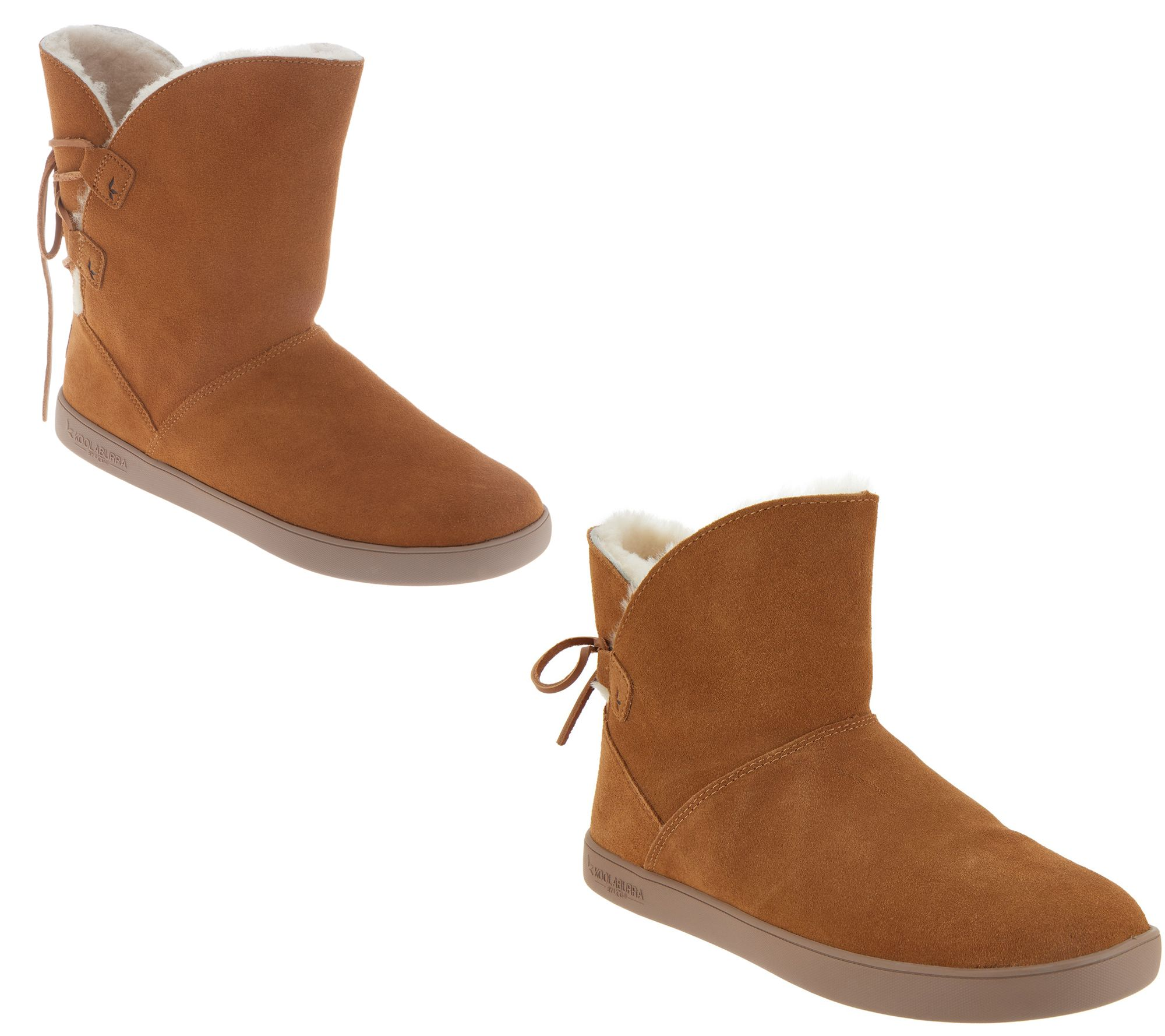 ead546f9f0e Koolaburra by UGG Choice of Short or Mini Tie Back Boots — QVC.com