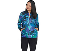 Bob Mackies Leaf Print Zip-Up Knit Jacket - A341819