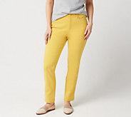Denim & Co. Petite Double Weave Straight Leg Ankle Pants - A349219