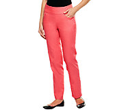 Denim & Co. Petite Perfect Denim Smooth Waist Straight Leg Jeans - A239620
