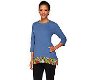 LOGO by Lori Goldstein Cotton Slub Top with Printed Hem - A261120