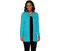 Joan Rivers Jersey Knit Lightweight Cardigan with Sequin Pockets - A262520
