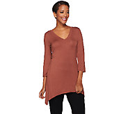LOGO Layers by Lori Goldstein 3/4 Sleeve V-neck Top with Sharkbite Hem - A268920