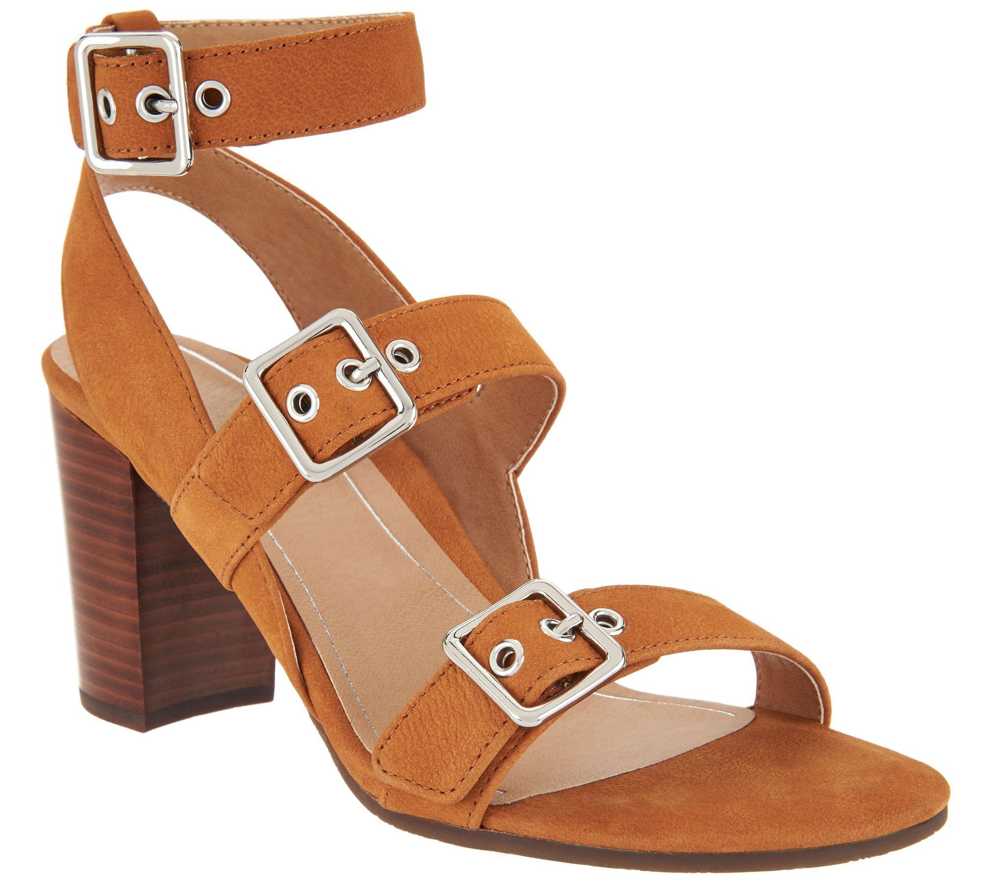 d867c72165f94 Vionic Orthotic Block-Heel Leather Sandals - Carmel - Page 1 — QVC.com