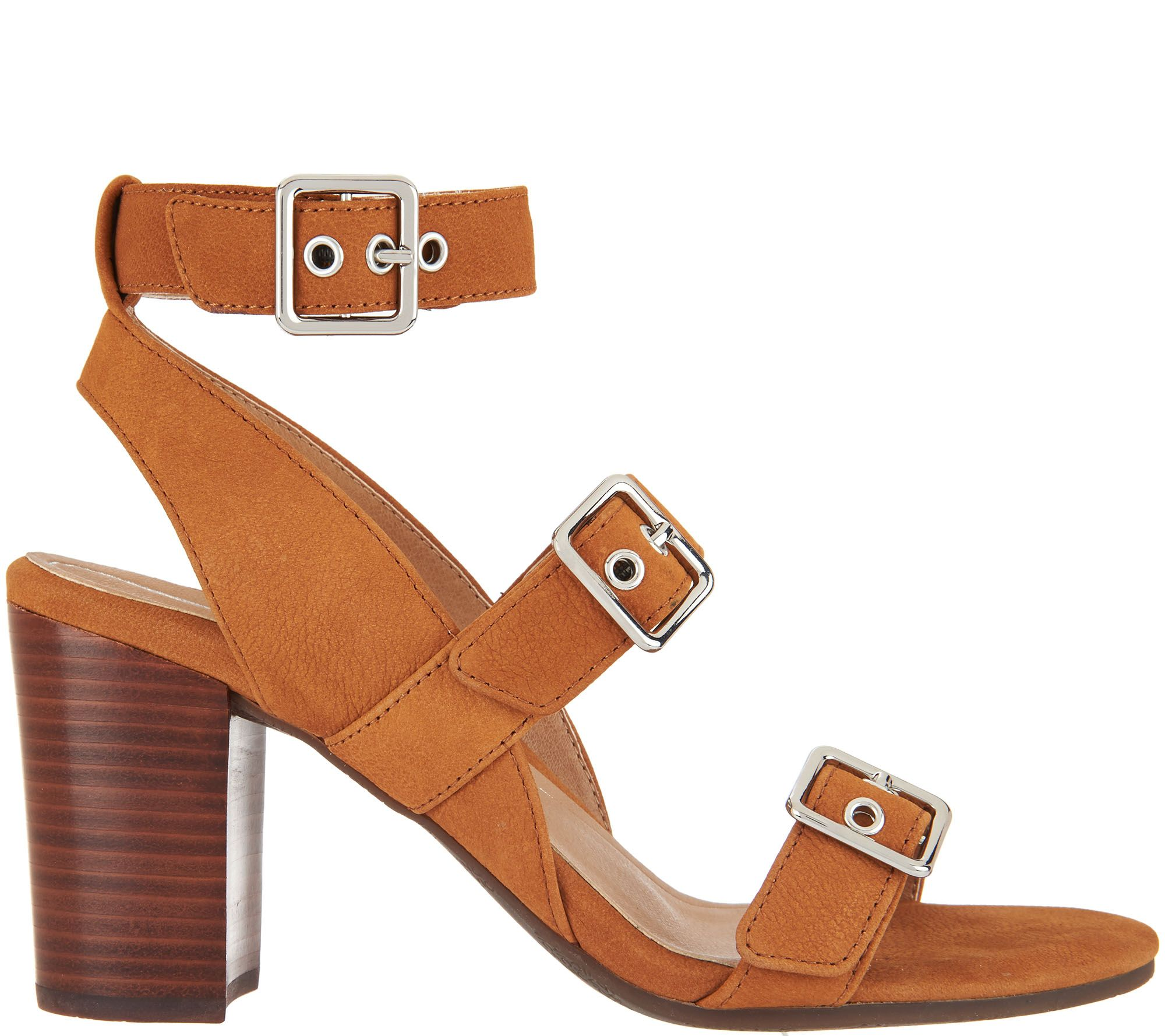 0be1c9bb7e9d Vionic Orthotic Block-Heel Leather Sandals - Carmel - Page 1 — QVC.com