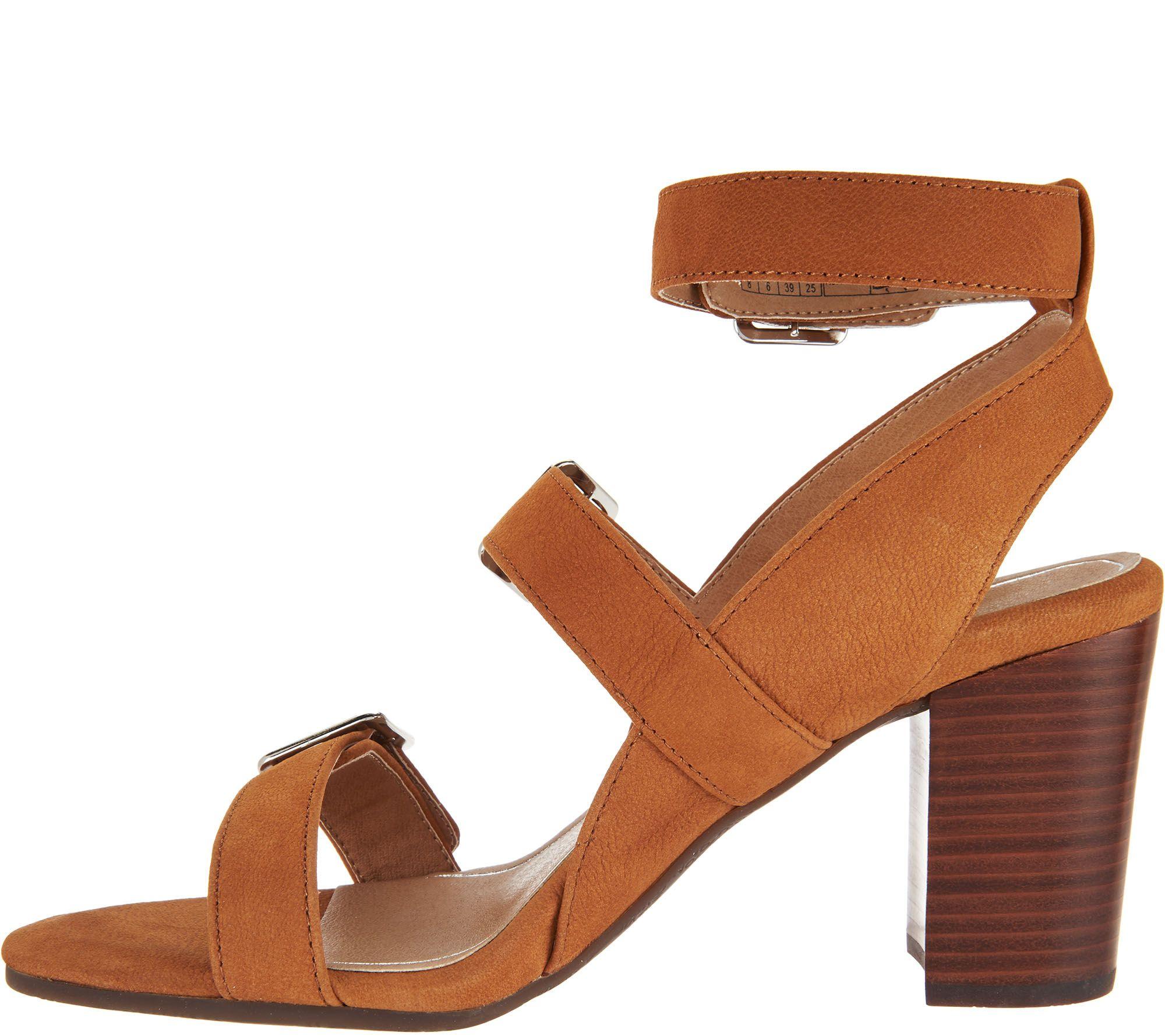 fa925c953a2a Vionic Orthotic Block-Heel Leather Sandals - Carmel - Page 1 — QVC.com
