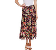 Linea by Louis DellOlio Crinkle Floral Print Boho Skirt - A287620