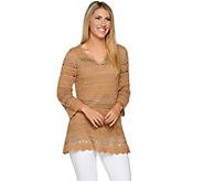 Laurie Felt Split V Neck 3/4 Sleeve Crochet Tunic - A292620