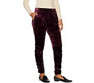 LOGO by Lori Goldstein Panne Velvet Jogger Pant with Ruching - A296520