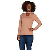 Du Jour Long Sleeve Banded Neck Knit Top - A300220
