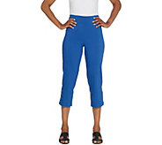 Joan Rivers Petite Pull-On Cropped Pants with Lace Up Detail - A301920