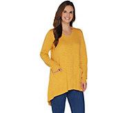 LOGO by Lori Goldstein Slub V-Neck Sweater with Asymmetric Hem - A302420