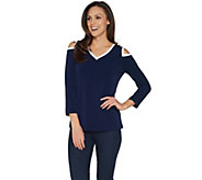 Susan Graver Liquid Knit Cold Shoulder Top - A302620