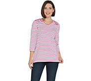 Denim & Co. Perfect Jersey Paisley and Stripe V-Neck 3/4-Sleeve Top - A307120