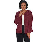 Dennis Basso Washable Suede Collarless Jacket with Scalloped Edge - A310220