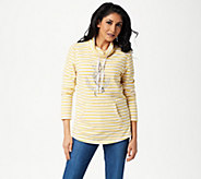 Quacker Factory Rhinestone Anchor Striped Knit Pullover - A349320