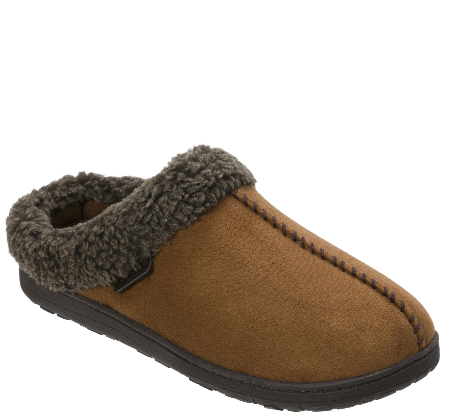 6048a0243d4 Dearfoams Men s Microsuede Slipper Clogs with Whipstitch — QVC.com