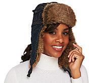 Collection XIIX Denim Trapper Hat with Faux Fur Trim - A217221
