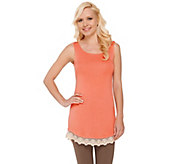 LOGO Layers by Lori Goldstein Petite Knit Tank with Lace Trim - A265621