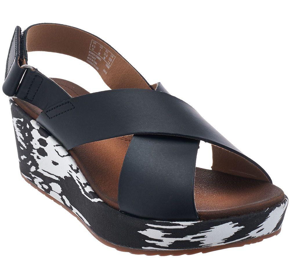 e799e22fdc2 Clarks Leather Cross Band Wedge Sandals - Stasha Hale - Page 1 — QVC.com