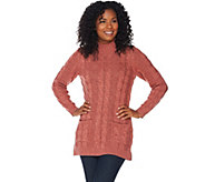 Denim & Co. Marled Long Sleeve Mock Neck Pullover Tunic Sweater - A283621