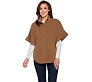Denim & Co. Fleece Stand Collar Button Front Poncho - A284621
