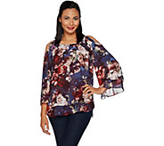 Laurie Felt Print or Solid Cold Shoulder Blouse - A295521