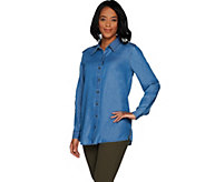 Martha Stewart Button Front Chambray Blouse with Side Slits - A303221