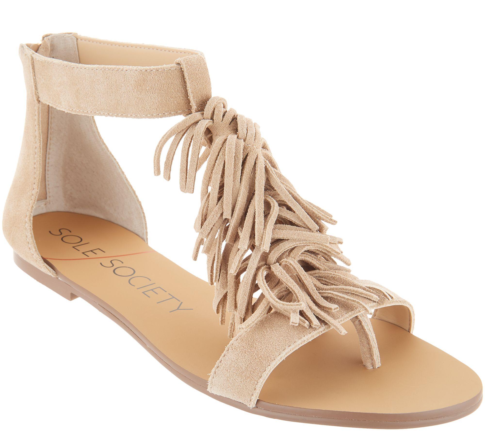 e9ccb9548e218 Sole Society Suede Fringe Flat Sandals - Koa - Page 1 — QVC.com