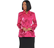 Dennis Basso Printed Button Front Jacket with Ruched Collar - A307221
