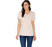 Martha Stewart Classics V-Neck Short Sleeve T-Shirt - A307721