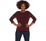 GRAVER Susan Graver Liquid Knit Top with Lace Sleeves - A308221