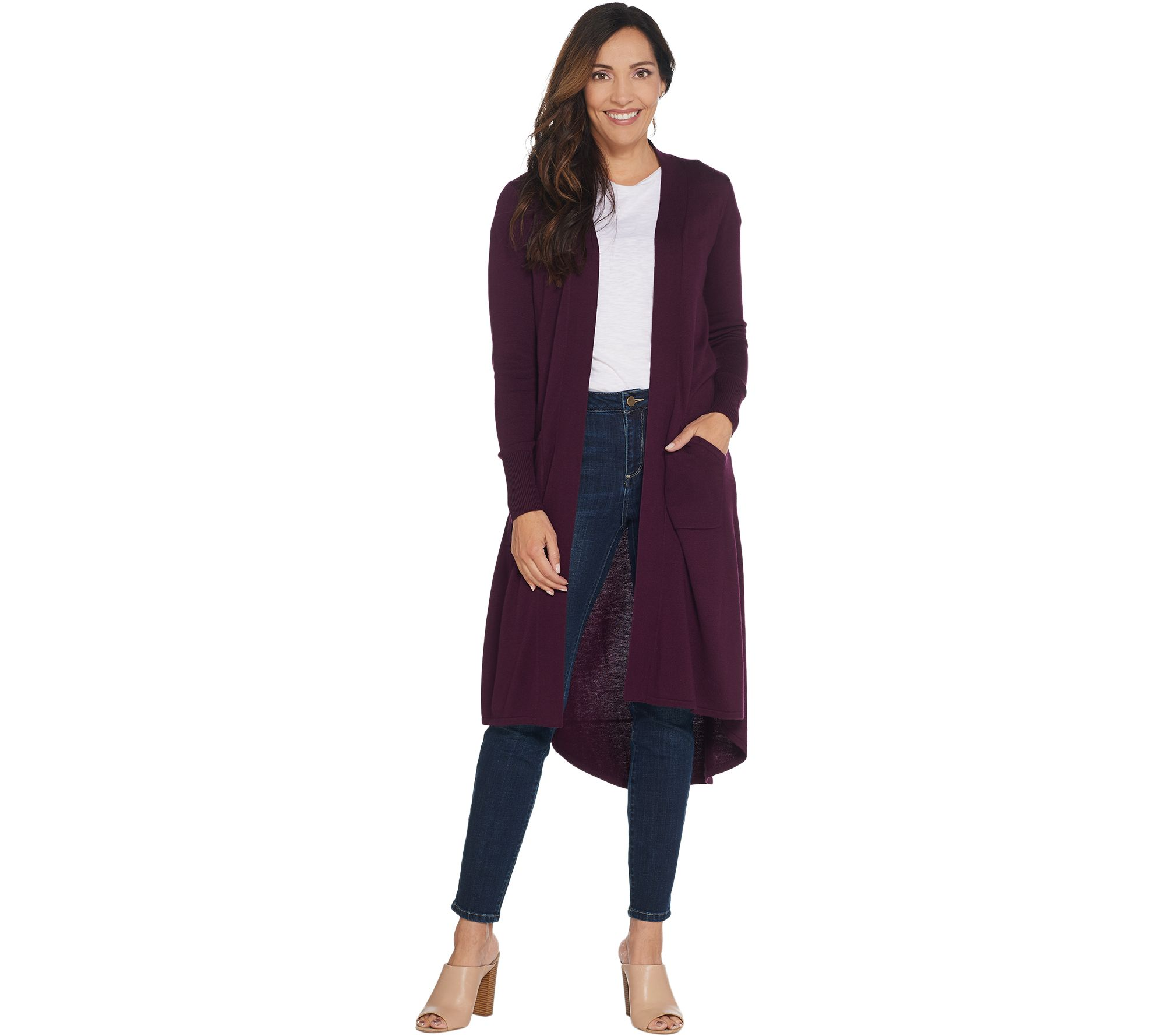 656cba59a7d18 H by Halston Regular Open Front Hi-Low Duster Cardigan - Page 1 — QVC.com