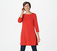Every Day by Susan Graver Petite Liquid Knit Tunic with Slits - A349021