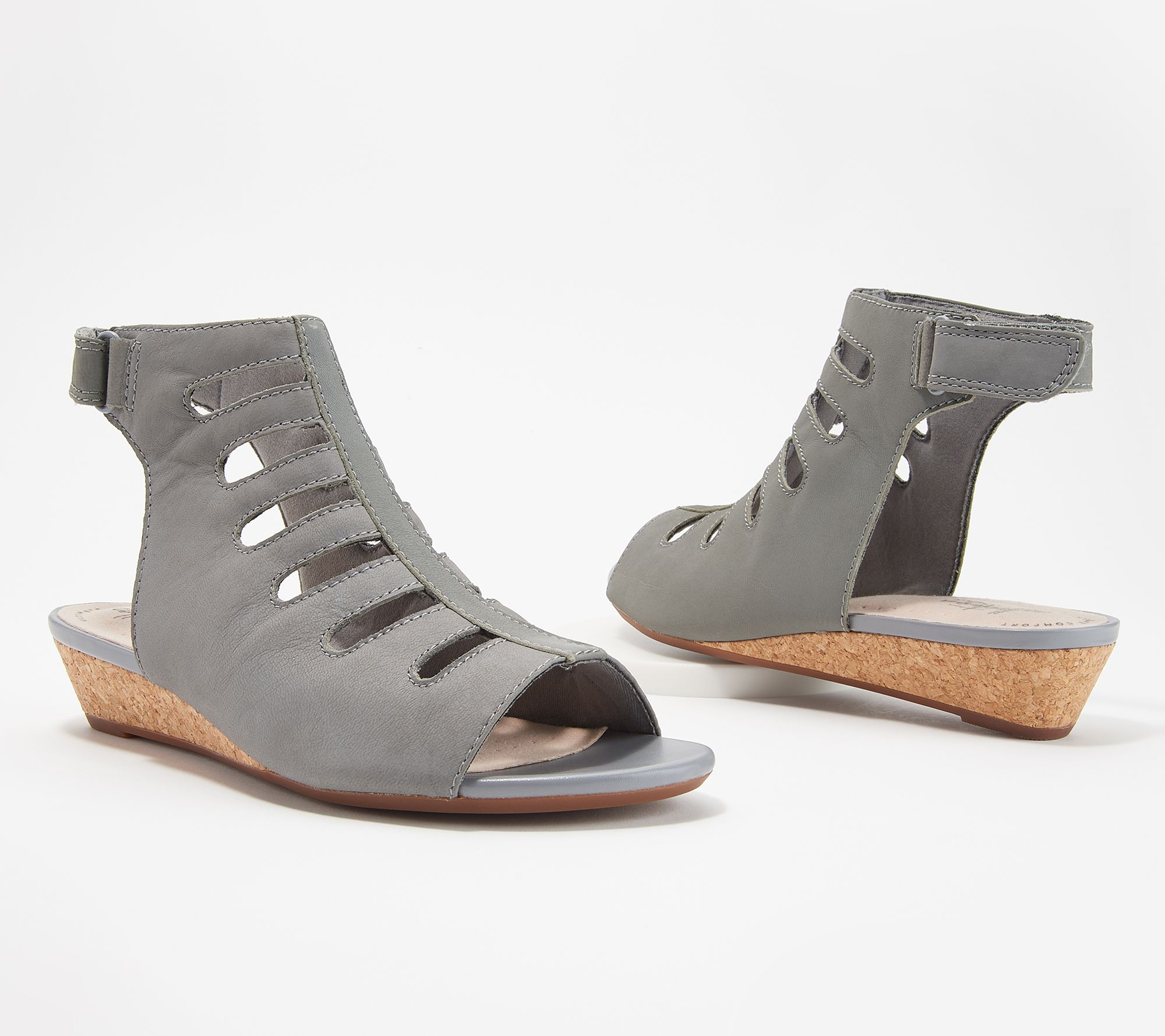 88932aa2345 Clarks Collection Leather Cutout Wedge Sandals - Abigail Sing - Page 1 —  QVC.com