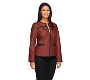 As Is Joan Rivers Quilted Faux Leather Zip-up Jacket - A365621