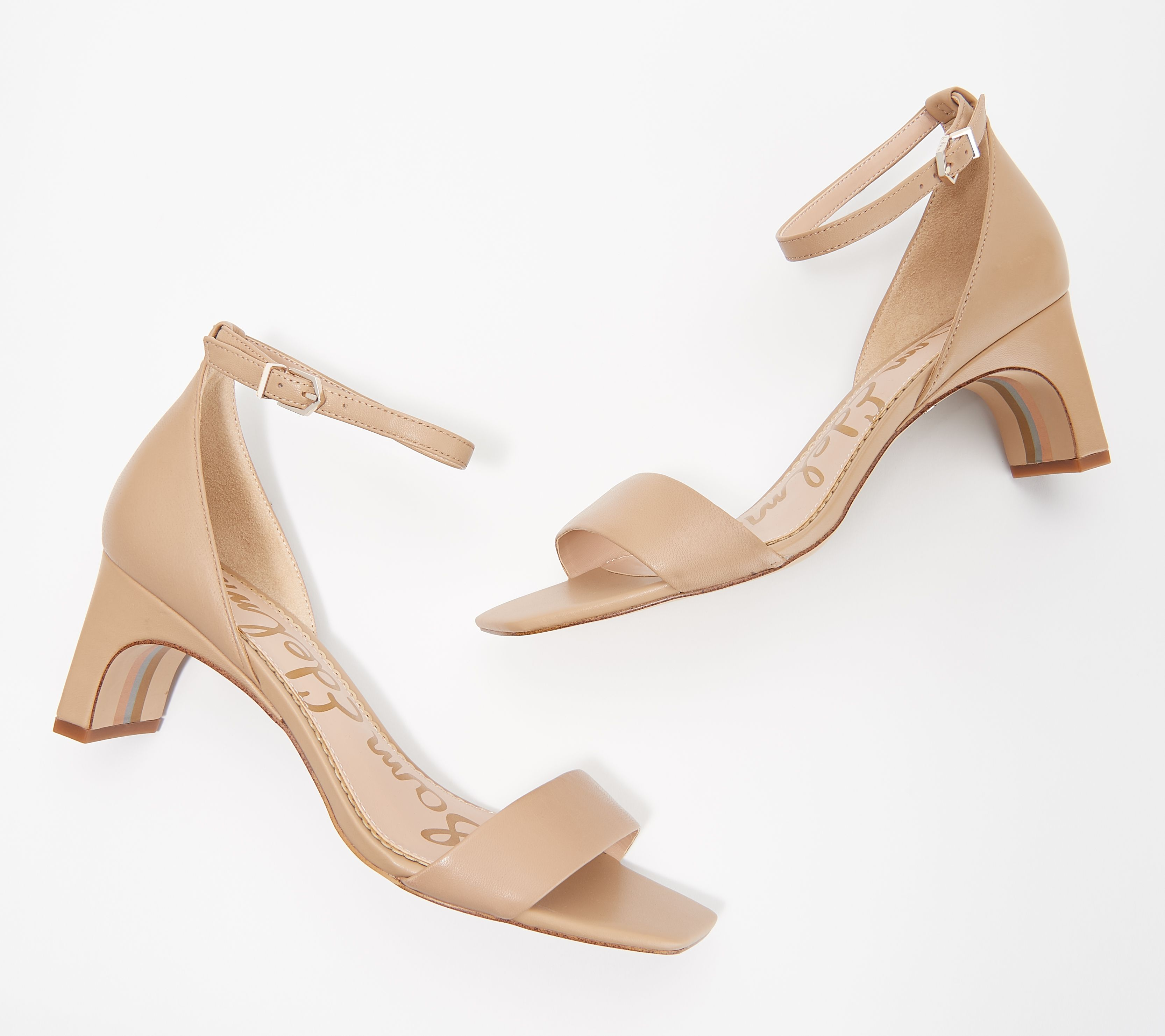 2574302c050 Sam Edelman Leather Ankle Strap Heeled Sandals - Holmes - Page 1 — QVC.com
