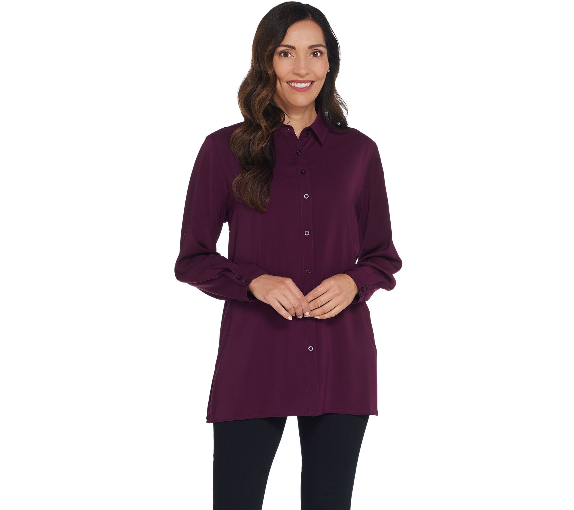 233d49b776bf Susan Graver Stretch Peachskin Fabric Button Front Big Shirt - Page 1 —  QVC.com