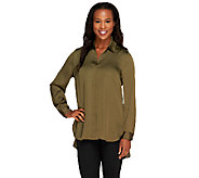 Susan Graver Charmeuse Button Front Shirt with Hi-Low Hem - A258622