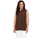 Susan Graver Printed Peachskin Sleeveless Shirt - A263822
