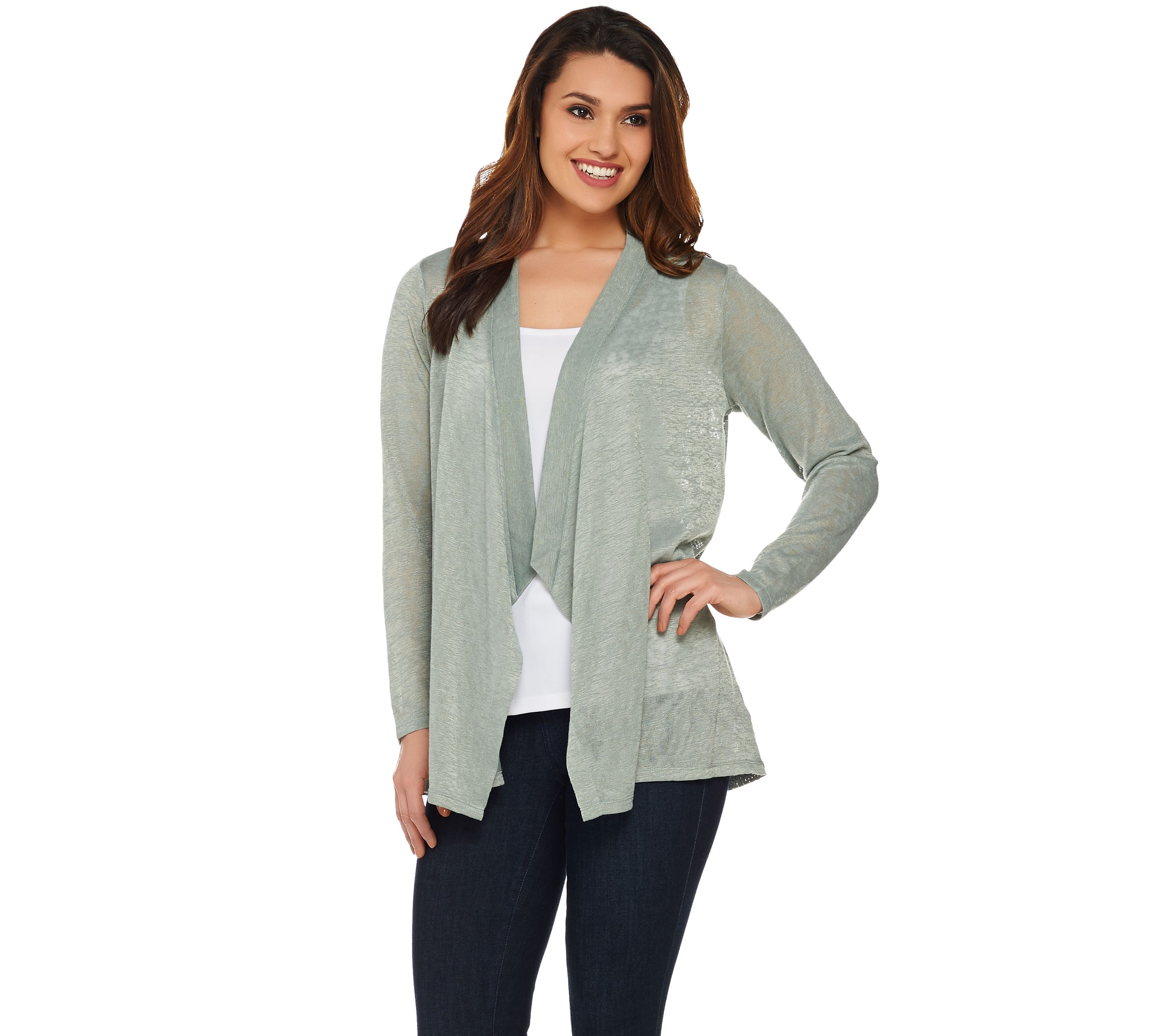 wms cardigan long top knit ribbed open drape front drapes sleeve womens fitted casual sweater bc