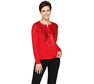 Bob Mackies Soutache and Sequin Sweater Knit Cardigan - A284022